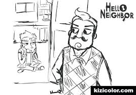 Hello Neighbor Free Coloring Pages Line Art By On Page Various