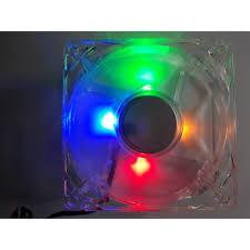 Quạt LED 4 MÀU 8*8 cm Kèm ốc.Fan case 8cm có đèn led 4 màu như hình   Nông  Trại Vui Vẻ - Shop