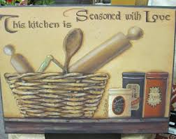 kitchen seasoned with love country primitive kitchen wall decor wood art sign 16x12 pam britton on primitive kitchen wall art with primitive kitchen etsy
