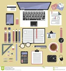 designer office desk isolated objects top view. background business design desk digital flat laptop objects office tools top view designer isolated r