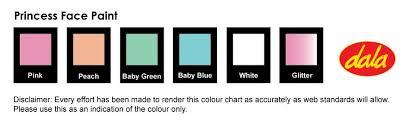 Princess Paint Colour Chart 46 Bright Princess Paint Colour Chart