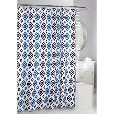 shop moda at home ikat polyester blue geometric shower curtain at