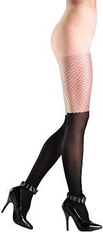 Cheap Tights With Designs Amazon Com Be Wicked Womens Two Tone Tights With Fishnet