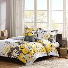 Mi Zone - Allison Comforter Set - Yellow - Full/Queen - Floral Pattern -