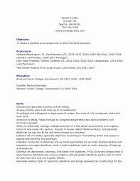Sample Resume For Medical Receptionist Medical Receptionist Resume Beautiful 60 Elegant Medical assistant 24
