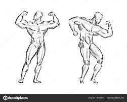 Bodybuilder Spier Mannelijke Schets Gym Sport Concept Stockfoto