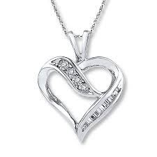 diamond heart necklace 1 10 ct tw round cut 10k white gold tap to expand