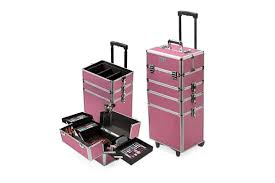 effleur 7 in 1 beauty makeup case cosmetics portable trolley holder pink box organiser kogan