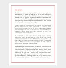 application samples college rejection letter template samples examples