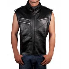 dave bautista black leather vest jacket wwe star vest