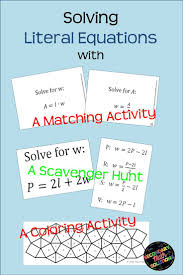 this is a matching activity focused on solving literal equations there are 32 cards enough for up to 32 students or 16 matches
