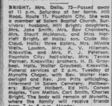 Obituary for Della BRIGHT (Aged 72) - Newspapers.com