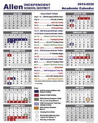 Academic School Year Calendar 2019 2020 Academic School