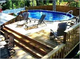 B Pictures Of Pool Decks Above Ground Plans Oval  Deck Round