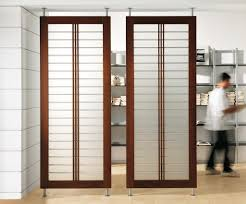 Sliding Transparent Screen Ikea Room Dividers With Brown Framed Color Also  White Wall Color Home Depot