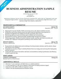 Business Administration Sample Resume