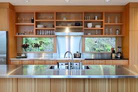 kitchen with beautiful wood open shelves