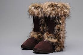 women ugg fox fur boots 5815 chocolate for sale