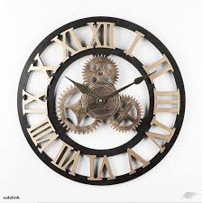 handmade clock large gear wall clock vintage rustic wooden luxury art vintage trade me