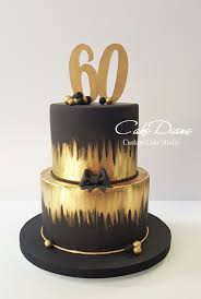 black and gold cake for a man s 60th birthday