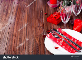 Candle Light Dinner Table Setting Romantic Valentine Candle Light Dinner Table Stock Photo