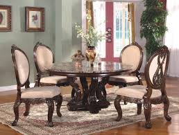 dining room rectangular brown carpet woven textured seats angular geometric design walnut legs white round table
