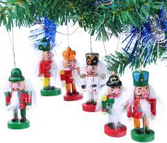 6 Tlg Set Nussknacker Baumschmuck Für Den Weihnachtsbaum Christbaumschmuck Aus Holz