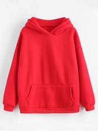 Kangaroo Pocket Fleece Lining <b>Hoodie</b> - <b>Red</b> M | Корейская ...