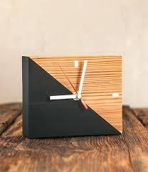 modern wooden desk clock modern desk organizer wooden clock pen holder reclaimed wood desk clock