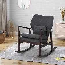wooden rocking chair upholstered vintage retro rocker seat furniture cushion