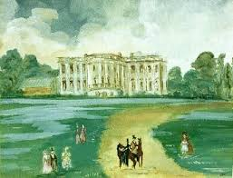 oval office paintings. painting by jackie given to jfk in 1962 as a gift the title is oval office paintings