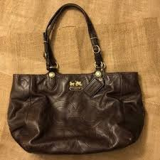 Coach Bags - Coach Mia Embossed Medium Dark Brown Leather Tote