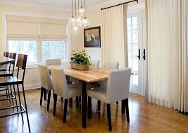 mini glass light fixtures for cute dining room ideas with sheer white curtain and maple floor
