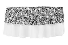 90 round damask flocking taffeta tablecloth overlay black white