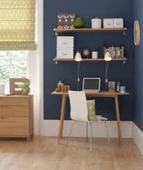 simple home office desk. Corner Home Office Space With Navy Blue Wall Simple Desk M