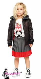 funky girl in leather jacket grey red dress girlmtl