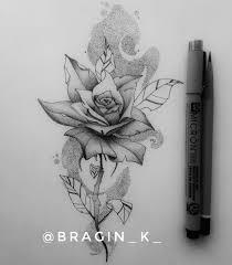 роза графика эскизы татуировок черно белый Rose Tattoo Sketch