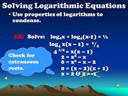 8 solving logarithmic equations