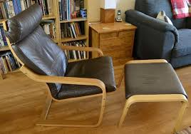 ikea poang chair footstool in oak with brown leather grey fabric covers