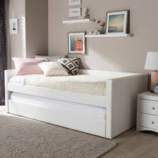 white twin bed. Baxton Studio Risom Modern And Contemporary White Faux Leather Upholstered Twin Size Daybed Bed Frame With