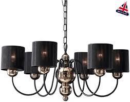 david hunt garbo 6 light bronze chandelier black string shades