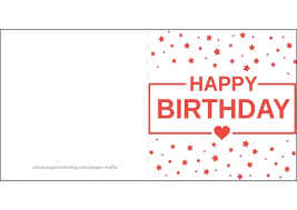 Happy Birthday Card Printable Template Happy Birthday Card With Heart And Stars Free Printable