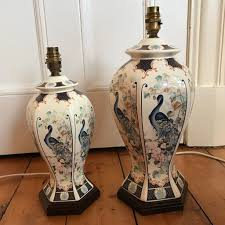 2 large chinese style table lamp bases peacock oriental