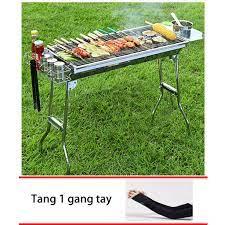 Bếp nướng than hoa gấp gọn ngoài trời cao cấp BBQ L5-129H +Tặng 1 găng tay  chống nắng - MuaZii