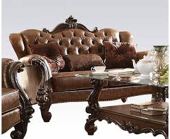 versailles formal on tufted loveseat in light brown faux leather