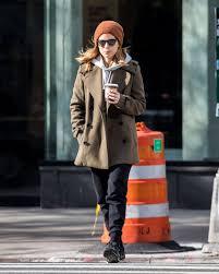 kate mara wears winter coat jeans stills out in new york
