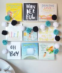 nursery bookshelves with free printable art