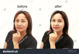 asian middle aged woman before and after retouch concept of makeup or plastic surgery