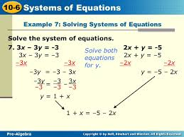 example 7 solving systems of equations