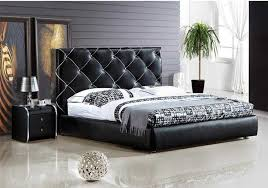 best high quality bedroom furniture of 2018 genuine leather bed noble style black simple fasion double